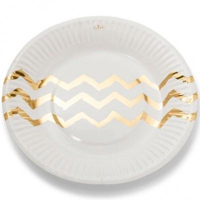 Assiettes en carton blanches chevrons dorés (12 pièces)