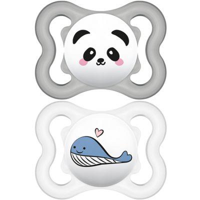 Lot de 2 sucettes anatomiques Suprême panda et baleine en silicone (2-6 mois)  par MAM