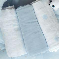 Lot de 3 langes en coton bio Bleu ciel (60 x 60 cm)