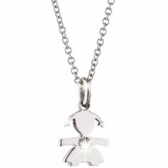 Collier Briciole fille avec diamant (or blanc 750°)
