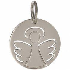Médaille Angélique personnalisable 17 mm (or blanc 750°)