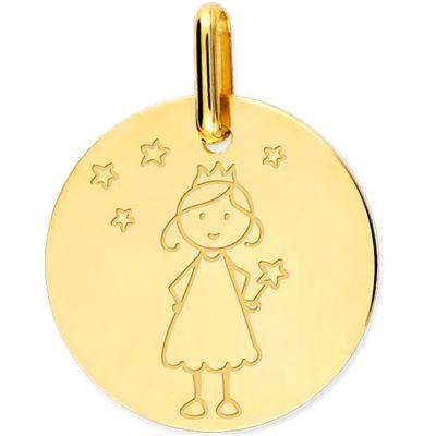 Médaille Fée personnalisable (or jaune 375°) Lucas Lucor