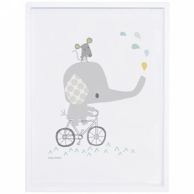Affiche encadrée éléphant Smile, it's raining by Dawn Machell (30 x 40 cm)  par Lilipinso
