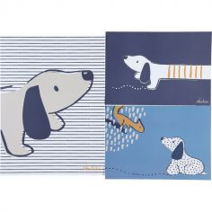 Lot de 3 affiches Aston & Jack chien bleu