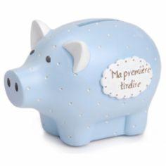Tirelire Ma première tirelire cochon bleu à pois (8 x 12 cm)