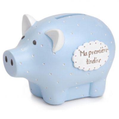 Tirelire Ma première tirelire cochon bleu à pois (8 x 12 cm) Amadeus