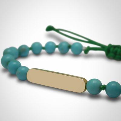 Bracelet Maracas perles (or jaune 750° et turquoise)  par Mikado