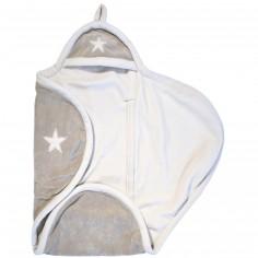 Couverture nomade étoile sable et blanc (naissance)
