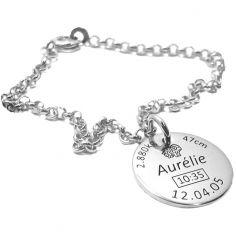 Bracelet avec 1 médaillon de naissance (argent 925° rhodié)