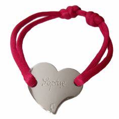 Bracelet cordon coeur 15 mm (or blanc 750°)