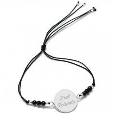 Bracelet cordon Rainbow Médaille noir personnalisable (argent 925°)