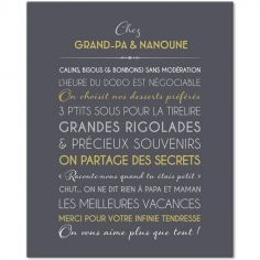 Tableau Grands-parents gris ardoise personnalisable (33 x 41 cm)