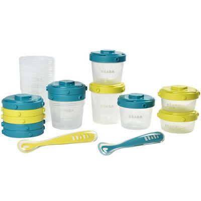 Pack 1er repas avec pots de conservation et cuillères néon bleu (14 pièces) Béaba
