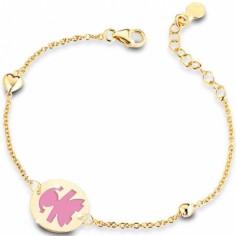 Bracelet sur chaîne Primegioie fille rond émail rose avec coeur et perle (or jaune 375°)