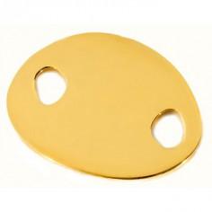 Bracelet empreinte gourmette mini galet 2 trous double chaîne 14 cm (or jaune 750°)
