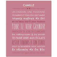 Tableau religieux Jolie cérémonie fond rose blush personnalisable (33 x 41 cm)