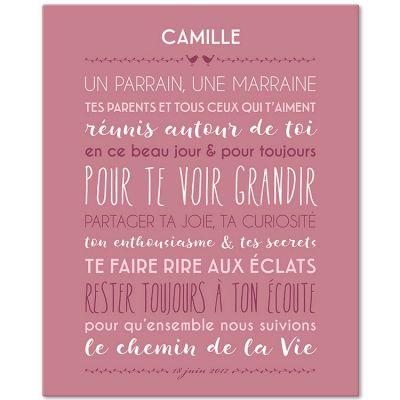 Tableau religieux Jolie cérémonie fond rose blush personnalisable (33 x 41 cm)  par Mes Mots Déco