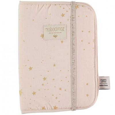 Protège carnet de santé Poema coton bio Gold stella Dream pink  par Nobodinoz