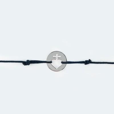 Bracelet cordon bébé médaille Mini Sacré Coeur 10 mm (or blanc 750°) Maison La Couronne