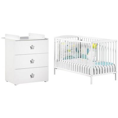 pack duo lit b b barreaux blanc et commode langer. Black Bedroom Furniture Sets. Home Design Ideas
