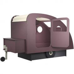 Lit enfant caravane avec coffre + timon finition laquée (7 coloris au choix)