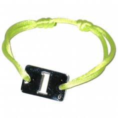 Bracelet cordon papa Lucky number rectangle 23 mm (argent 925°)