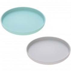 Lot de 2 assiettes plates en bambou gris et turquoise