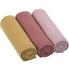 Lot de 3 langes en mousseline de coton rose (85 x 85 cm)