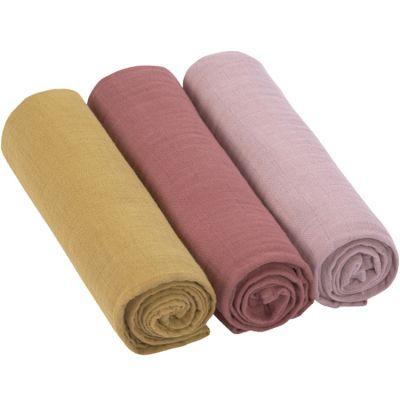 Lot de 3 langes en mousseline de coton rose (85 x 85 cm)  par Lässig