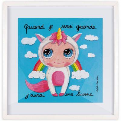 Affiche encadrée Quand je serai grande j'aurai une licorne (50 x 50 cm )  par Isabelle Kessedjian