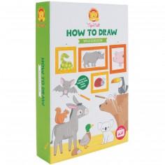Coffret à dessins Comment dessiner des animaux sauvages