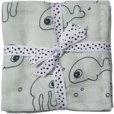 Lot de 2 langes Sea Friends bleu clair (70 x 70 cm)