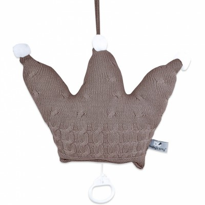 Coussin musical couronne Cable Uni taupe (36 x 36 cm) Baby's Only