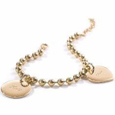 Bracelet chaîne boule 2 charms médaille ronde ou médaille coeur (plaqué or)