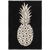 Tapis lavable ananas noir et blanc (140 x 200 cm) - Lorena Canals