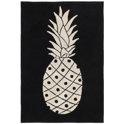 tapis lavable ananas noir et blanc 140 x 200 cm. Black Bedroom Furniture Sets. Home Design Ideas