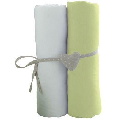Lot de 2 draps housses blanc et vert (60 x 120 cm)  par Babycalin