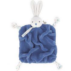 Doudou attache sucette doudou plat Plume lapinou bleu océan (20 cm)