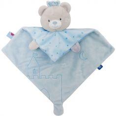 Doudou plat ours bleu (28 cm)