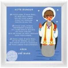 Tableau religieux Prière Acte d'Amour bleu (15 x 15 cm)