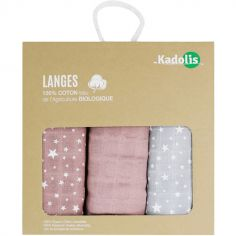 Lot de 3 langes en coton bio Étoile rose (70 x 70 cm)