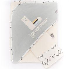 Cape de bain + gant gris Lamamour (75 x 80 cm)
