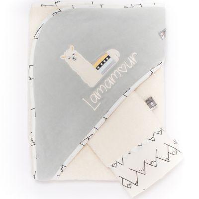 Cape de bain + gant gris Lamamour (75 x 80 cm)  par Nougatine