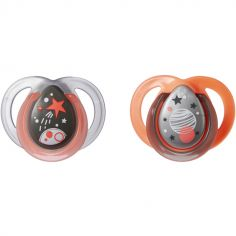 Lot de 2 sucettes Night time Espace orange (0-6 mois)