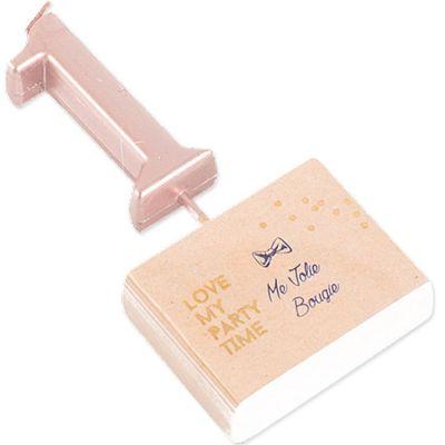 Bougie rose gold sur pic chiffre 1  par Arty Fêtes Factory