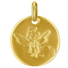 Médaille ronde Petit Ange 16 mm (or jaune 750°)