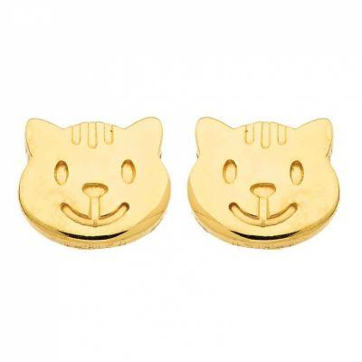 Boucles d'oreilles Chat (or jaune 750°)  par Berceau magique bijoux