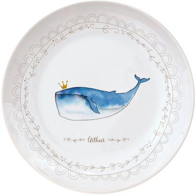 Assiette en porcelaine Baleine (personnalisable)  par Gaëlle Duval