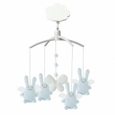 Mobile musical Ange lapin bleu