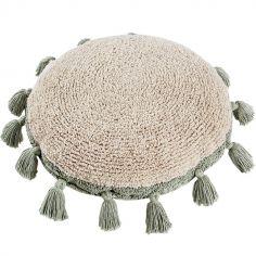 Coussin rond à pompons Circle vert (48 cm)